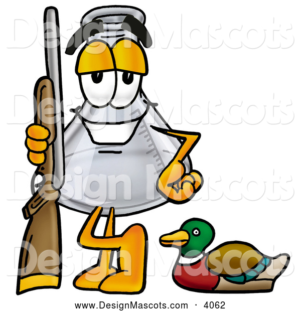 Stock Mascot Cartoon of a Cheerful Erlenmeyer Conical Laboratory Flask Beaker Mascot Cartoon Character Duck Hunting, Standing with a Rifle and Duck