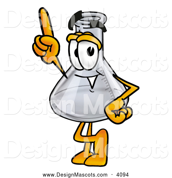 Stock Mascot Cartoon of a Cheerful Erlenmeyer Conical Laboratory Flask Beaker Mascot Cartoon Character Pointing Upwards