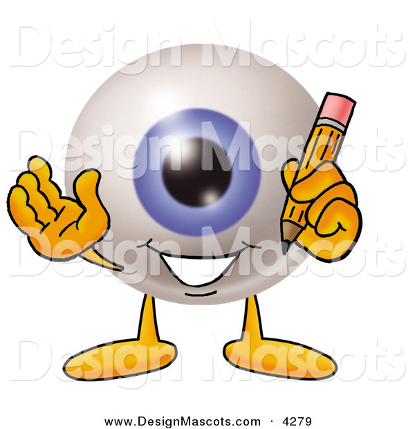 Stock Mascot Cartoon of a Cheerful Eyeball Mascot Cartoon Character Holding a Pencil