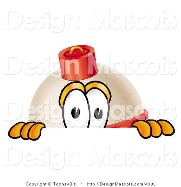 Stock Mascot Cartoon of a Curious Fishing Bobber Mascot Cartoon Character Peeking over a Surface