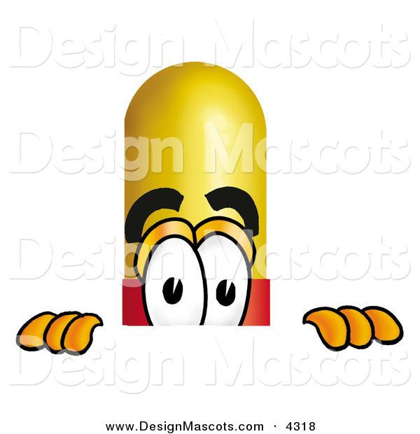 Stock Mascot Cartoon of a Curious Medicine Pill Capsule Mascot Cartoon Character Peeking over a Surface