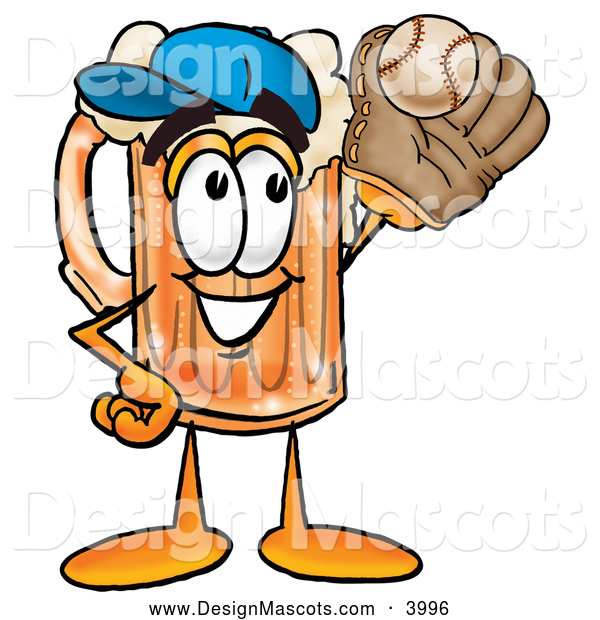 Stock Mascot Cartoon of a Cute Beer Mug Mascot Cartoon Character Catching a Baseball with a Glove