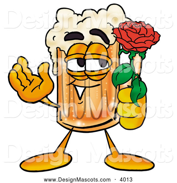 Stock Mascot Cartoon of a Cute Beer Mug Mascot Cartoon Character Holding a Red Rose on Valentines Day