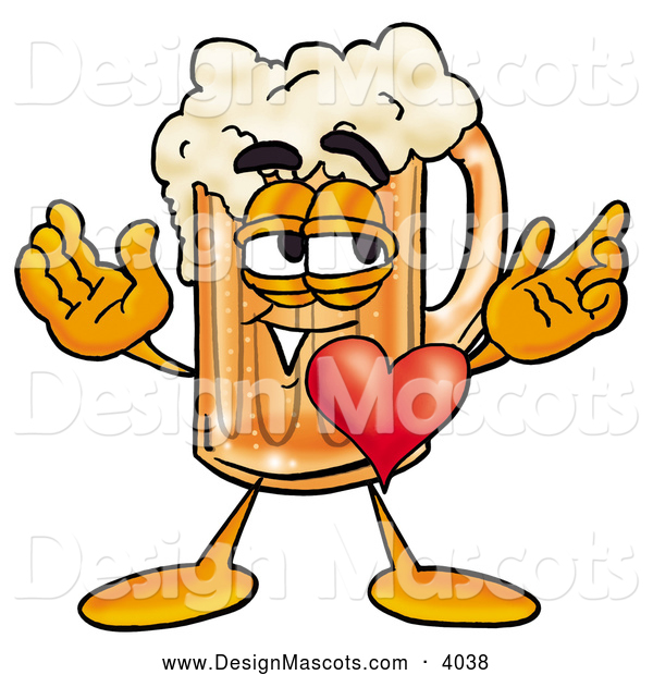 Stock Mascot Cartoon of a Cute Beer Mug Mascot Cartoon Character with His Heart Beating out of His Chest