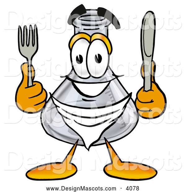 Stock Mascot Cartoon of a Cute Erlenmeyer Conical Laboratory Flask Beaker Mascot Cartoon Character Holding a Knife and Fork
