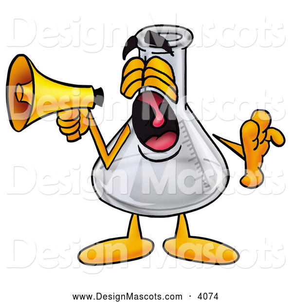 Stock Mascot Cartoon of a Cute Erlenmeyer Conical Laboratory Flask Beaker Mascot Cartoon Character Screaming into a Megaphone