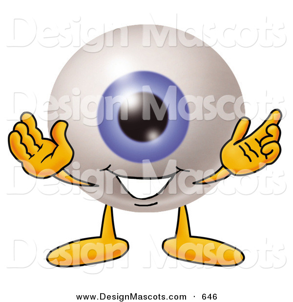 Stock Mascot Cartoon of a Cute Eyeball Mascot Cartoon Character with Welcoming Open Arms