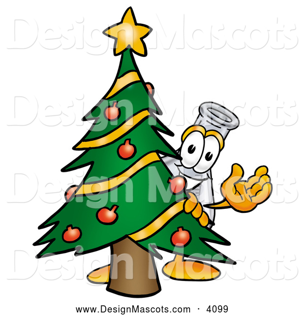 Stock Mascot Cartoon of a Erlenmeyer Conical Laboratory Flask Beaker Mascot Cartoon Character Waving and Standing by a Decorated Green Christmas Tree