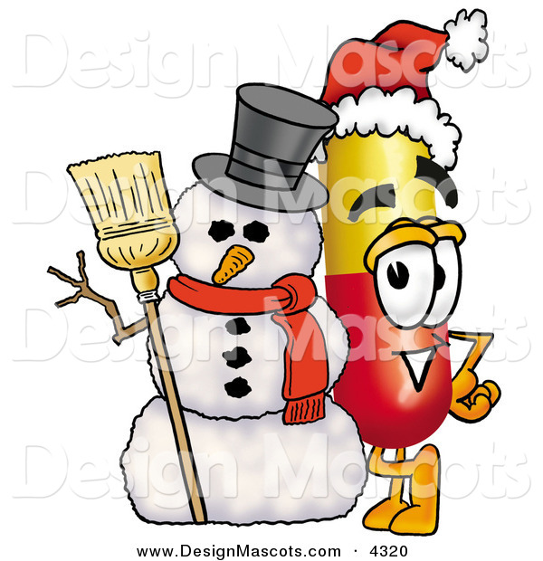 Stock Mascot Cartoon of a Festive and Happy Medicine Pill Capsule Mascot Cartoon Character with a Snowman on Christmas