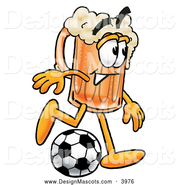 Stock Mascot Cartoon of a Friendly Beer Mug Mascot Cartoon Character Kicking a Soccer Ball