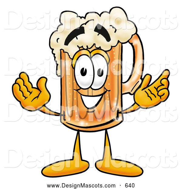 Stock Mascot Cartoon of a Friendly Beer Mug Mascot Cartoon Character with Welcoming Open Arms