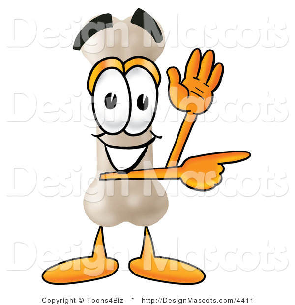 Stock Mascot Cartoon of a Friendly Bone Mascot Cartoon Character Waving and Pointing