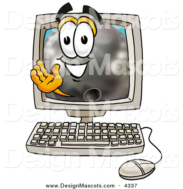 Stock Mascot Cartoon of a Friendly Bowling Ball Mascot Cartoon Character Waving from Inside a Computer Screen