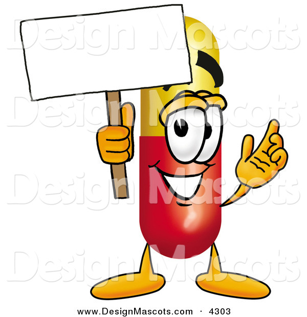 Stock Mascot Cartoon of a Friendly Medicine Pill Capsule Mascot Cartoon Character Holding a Blank Sign