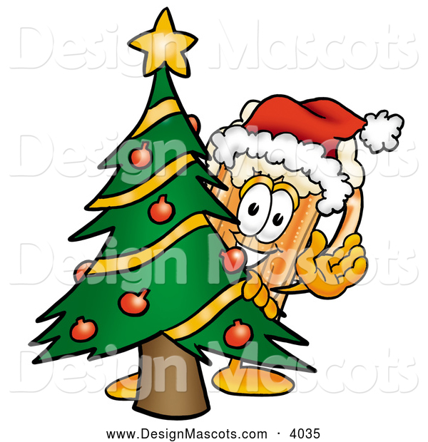 Stock Mascot Cartoon of a Frosty Beer Mug Mascot Cartoon Character Waving and Standing by a Decorated Christmas Tree