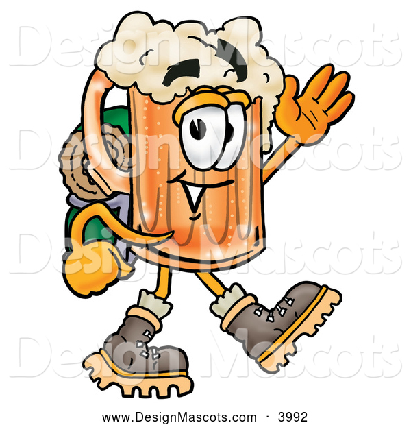 Stock Mascot Cartoon of a Frothy Beer Mug Mascot Cartoon Character Hiking and Carrying a Backpack