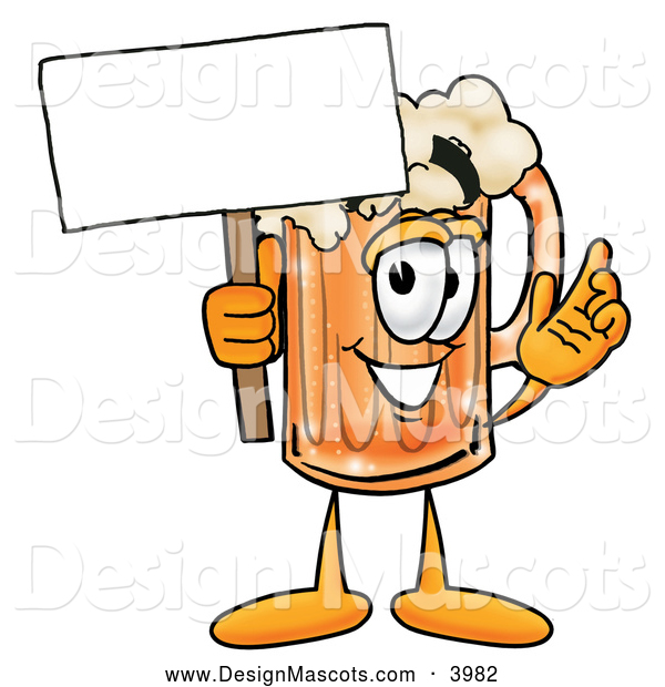 Stock Mascot Cartoon of a Frothy Beer Mug Mascot Cartoon Character Holding a Blank Sign
