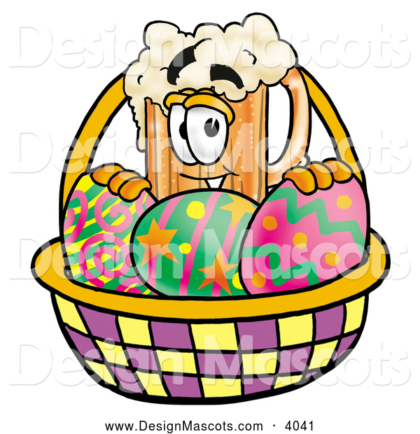 Stock Mascot Cartoon of a Frothy Beer Mug Mascot Cartoon Character in an Easter Basket Full of Decorated Easter Eggs