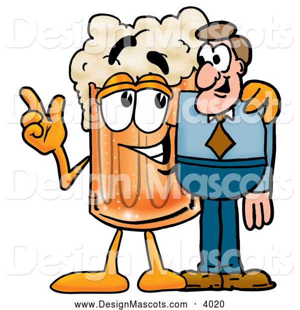 Stock Mascot Cartoon of a Frothy Beer Mug Mascot Cartoon Character Talking to a Business Man