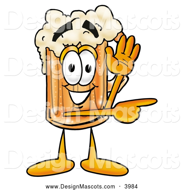 Stock Mascot Cartoon of a Frothy Beer Mug Mascot Cartoon Character Waving and Pointing