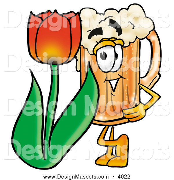 Stock Mascot Cartoon of a Frothy Beer Mug Mascot Cartoon Character with a Red Tulip Flower in the Spring