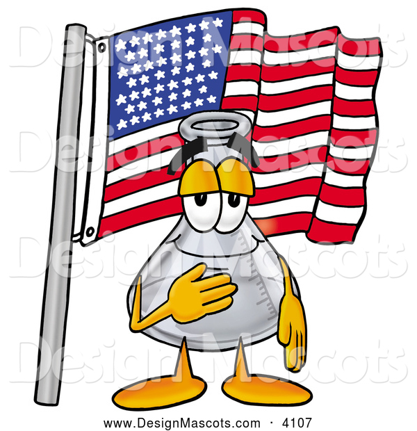 Stock Mascot Cartoon of a Glass Erlenmeyer Conical Laboratory Flask Beaker Mascot Cartoon Character Pledging Allegiance to an American Flag