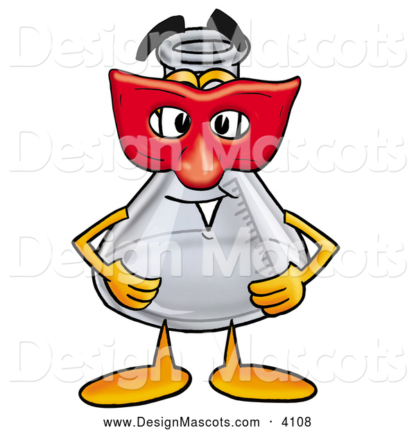 Stock Mascot Cartoon of a Glass Erlenmeyer Conical Laboratory Flask Beaker Mascot Cartoon Character Wearing a Red Mask over His Face