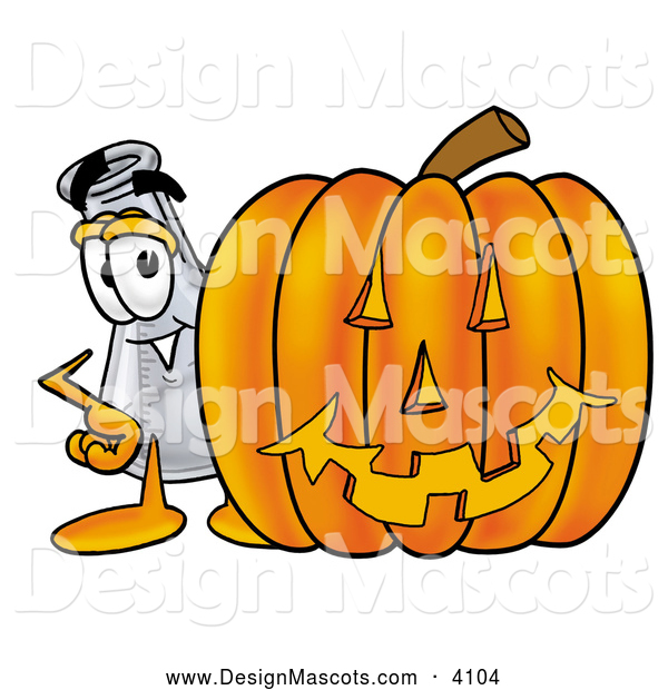Stock Mascot Cartoon of a Glass Erlenmeyer Conical Laboratory Flask Beaker Mascot Cartoon Character with a Carved Halloween Pumpkin