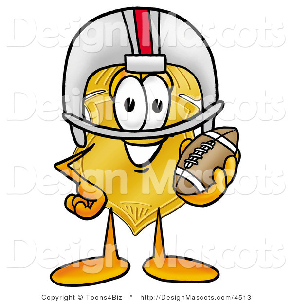 Stock Mascot Cartoon of a Golden Police Badge Mascot Cartoon Character in a Helmet, Holding a Football