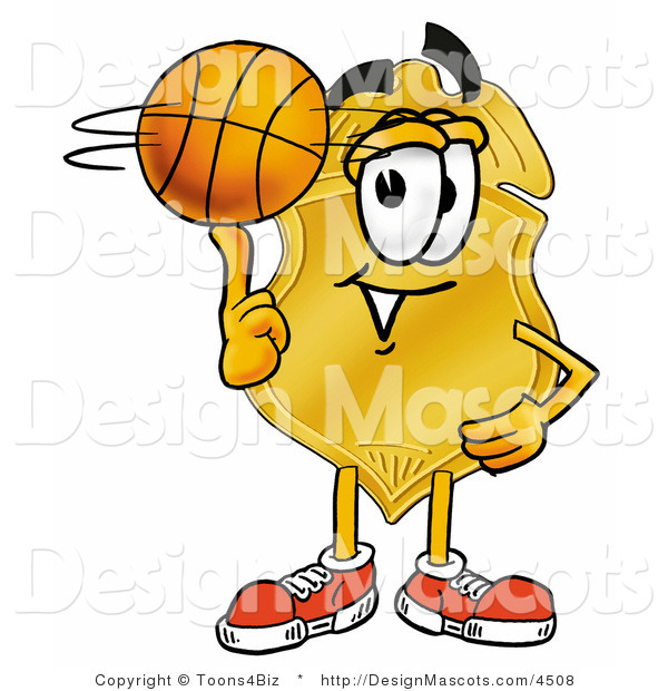 Stock Mascot Cartoon of a Golden Police Badge Mascot Cartoon Character Spinning a Basketball on His Finger