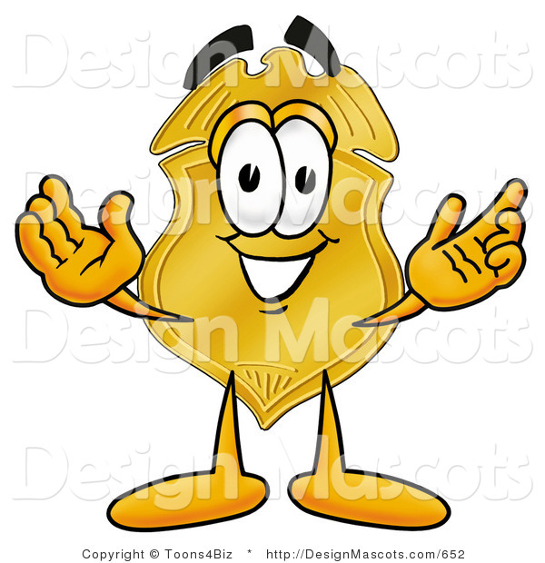 Stock Mascot Cartoon of a Golden Police Badge Mascot Cartoon Character with Welcoming Open Arms