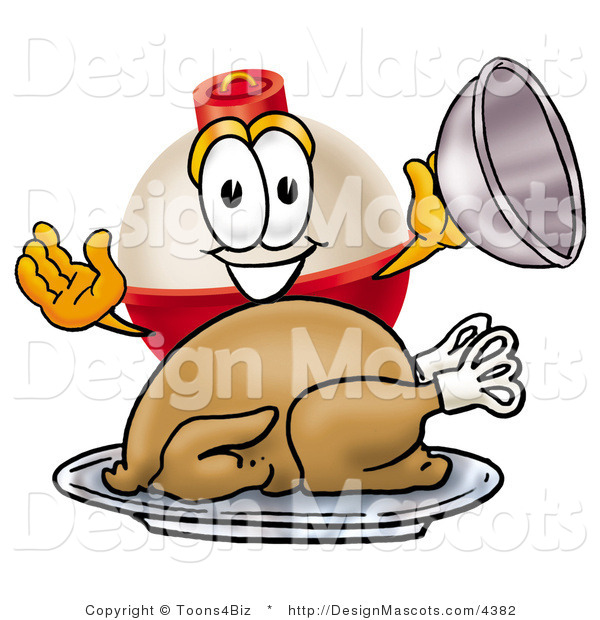Stock Mascot Cartoon of a Happy and Hungry Fishing Bobber Mascot Cartoon Character Serving a Thanksgiving Turkey on a Platter