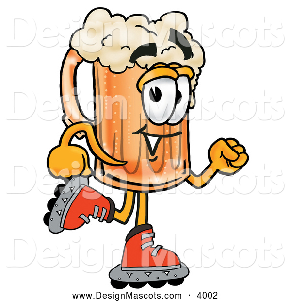 Stock Mascot Cartoon of a Happy Beer Mug Mascot Cartoon Character Roller Blading on Inline Skates