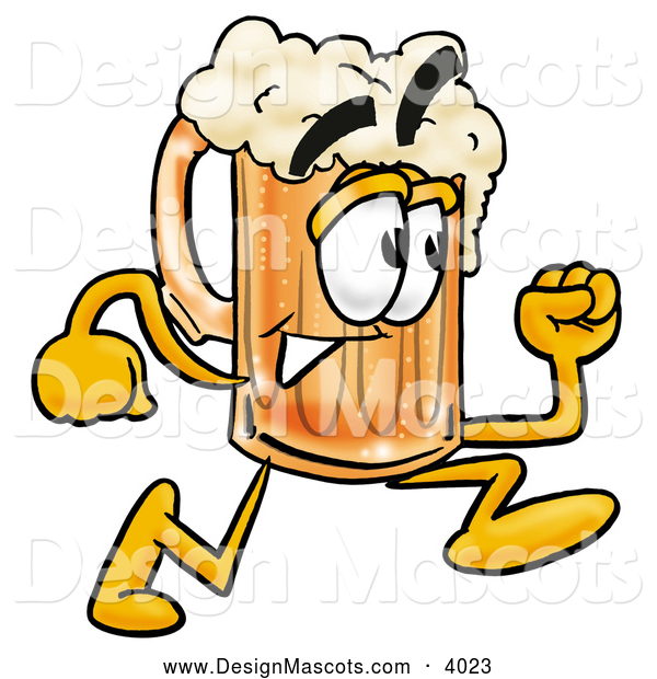 Stock Mascot Cartoon of a Happy Beer Mug Mascot Cartoon Character Running