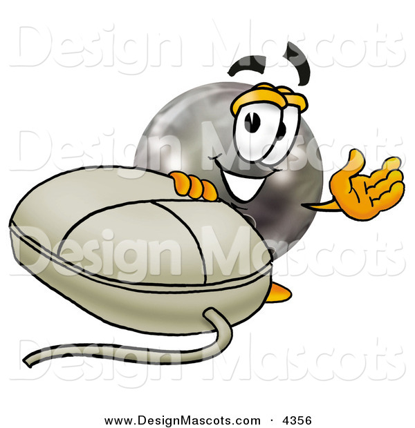 Stock Mascot Cartoon of a Happy Bowling Ball Mascot Cartoon Character with a Computer Mouse