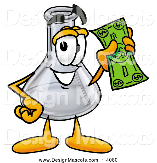 Stock Mascot Cartoon of a Happy Erlenmeyer Conical Laboratory Flask Beaker Mascot Cartoon Character Holding a Dollar Bill