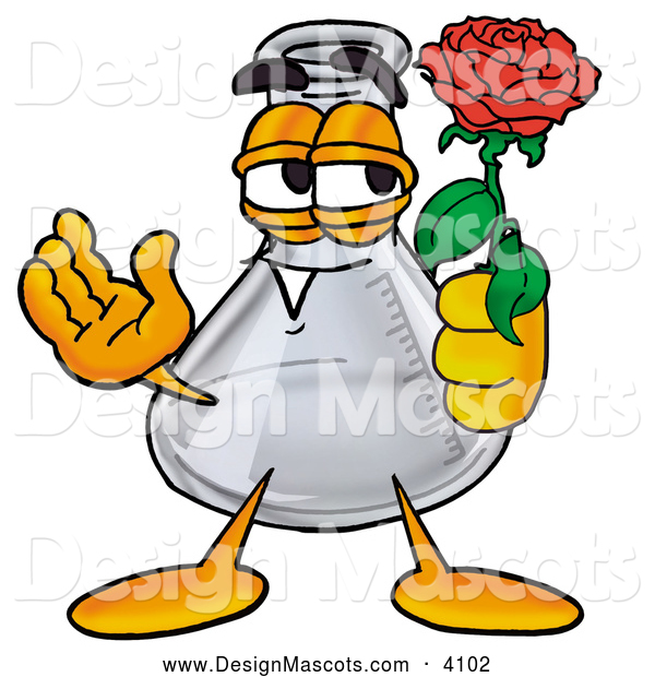 Stock Mascot Cartoon of a Happy Erlenmeyer Conical Laboratory Flask Beaker Mascot Cartoon Character Holding a Red Rose on Valentines Day