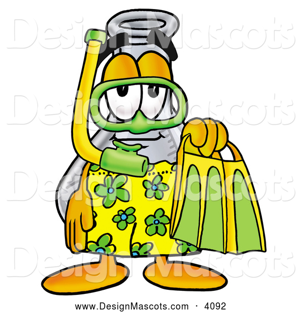 Stock Mascot Cartoon of a Happy Erlenmeyer Conical Laboratory Flask Beaker Mascot Cartoon Character in Green and Yellow Snorkel Gear