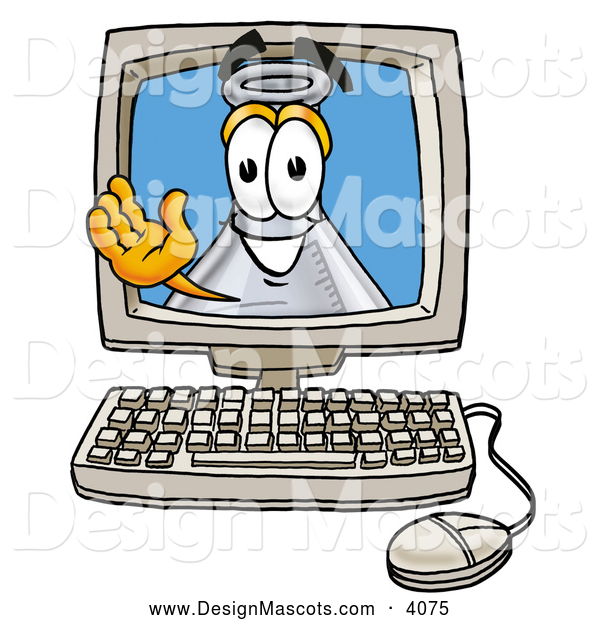 Stock Mascot Cartoon of a Happy Erlenmeyer Conical Laboratory Flask Beaker Mascot Cartoon Character Waving from Inside a Computer Screen