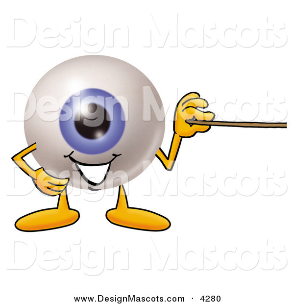 Stock Mascot Cartoon of a Happy Eyeball Mascot Cartoon Character Holding a Pointer Stick