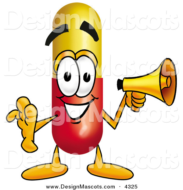 Stock Mascot Cartoon of a Happy Medicine Pill Capsule Mascot Cartoon Character Holding a Megaphone