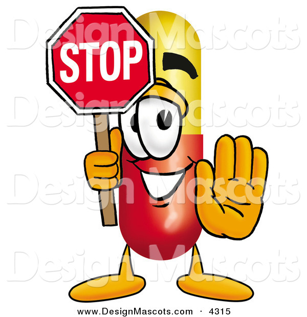 Stock Mascot Cartoon of a Happy Medicine Pill Capsule Mascot Cartoon Character Holding a Stop Sign