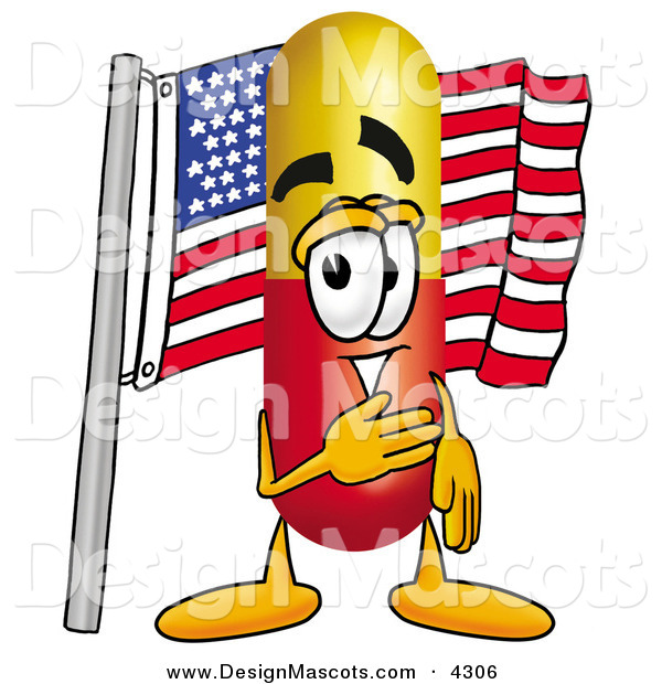 Stock Mascot Cartoon of a Happy Medicine Pill Capsule Mascot Cartoon Character Pledging Allegiance to an American Flag