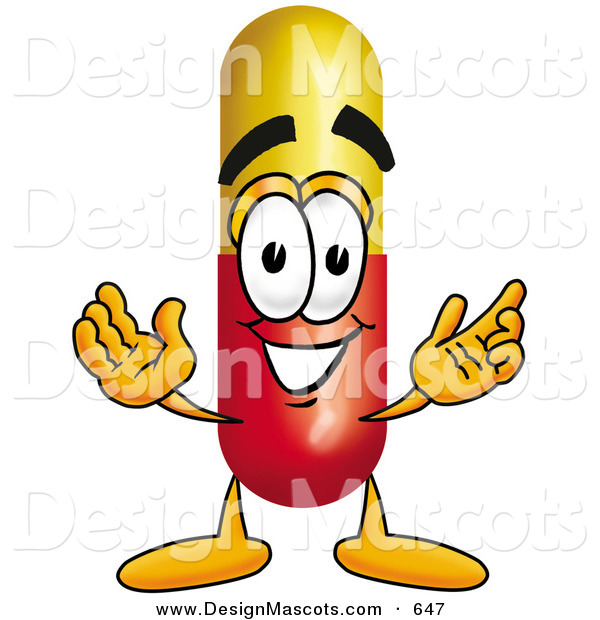 Stock Mascot Cartoon of a Happy Medicine Pill Capsule Mascot Cartoon Character with Welcoming Open Arms