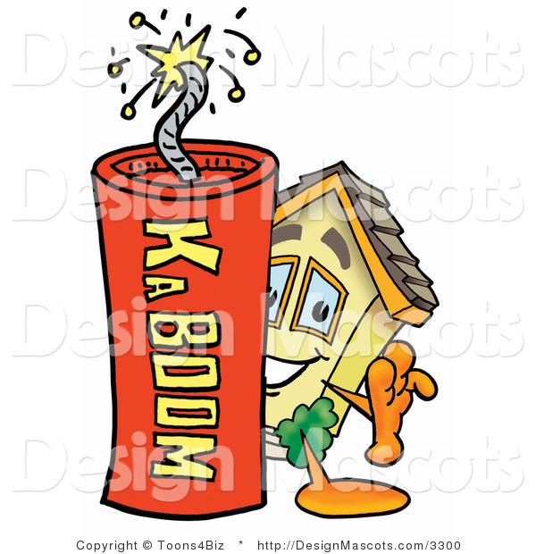 Stock Mascot Cartoon of a House Mascot and Dynamite