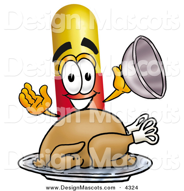 Stock Mascot Cartoon of a Hungry Medicine Pill Capsule Mascot Cartoon Character Serving a Thanksgiving Turkey on a Platter