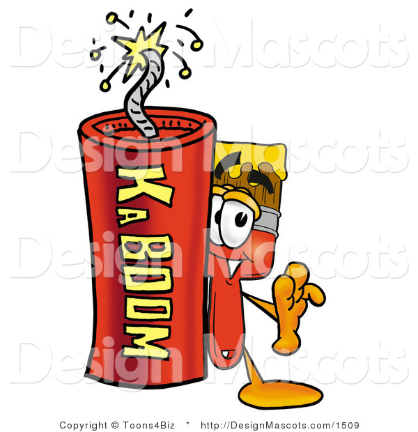 Stock Mascot Cartoon of a Paintbrush Mascot and Dynamite