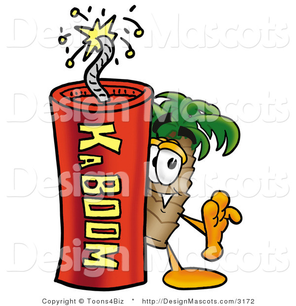 Stock Mascot Cartoon of a Palm Tree Mascot and Dynamite