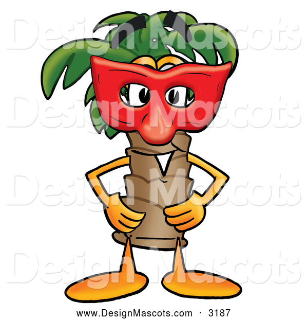 Stock Mascot Cartoon of a Palm Tree Mascot Wearing a Face Mask