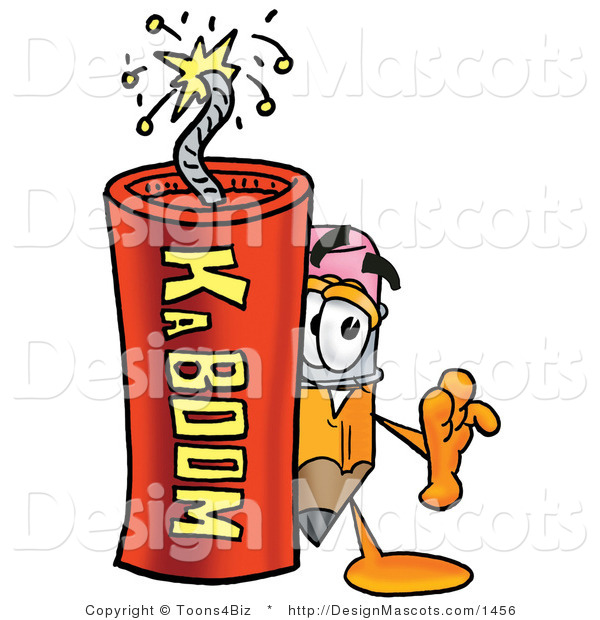 Stock Mascot Cartoon of a Pencil Mascot and Dynamite